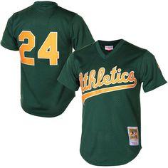 Men s Oakland Athletics Rickey Henderson Mitchell   Ness Green 1998  Cooperstown Mesh Batting Practice Jersey 9e9ff8f04