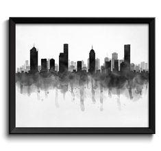 Melbourne Skyline Australia Cityscape Art Print Poster Black White Grey Watercolor Painting