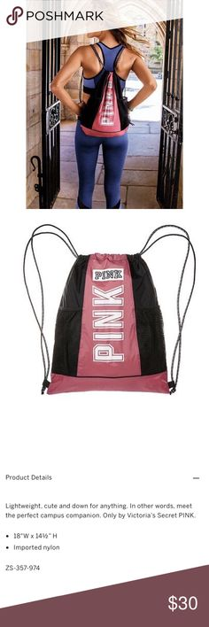 [pink victoria's secret] drawstring backpack bag • style name: drawstring backpack • color: soft begonia • sold out online • see above for details from company website • condition: new in online packaging, never used ____________________________________ ✅ make an offer!     ✅ i bundle!                      ⛔️ posh compliant closet & no trades PINK Victoria's Secret Bags Backpacks