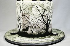 Teen Wolf Birthday cake - double barrel first tier with hand painted trees and wolf. Airbrush moon and clouds.