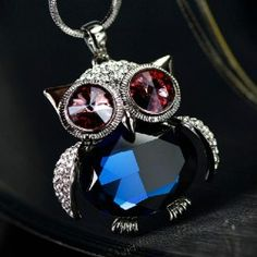 New Lovely Owl Shape Crystal All-match Sweater Chain