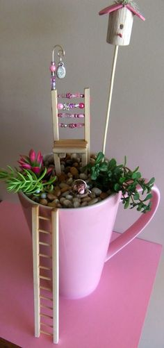 37 DIY Miniature Fairy Garden Ideas to Bring Magic Into Your Home - Famous Last Words Mini Fairy Garden, Fairy Garden Houses, Fairies Garden, Pierre Decorative, Little Gardens, Fairy Furniture, Painted Furniture, Furniture Ideas, Ideias Diy