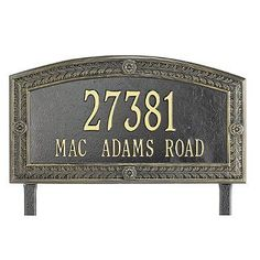Hamilton Standard Address Plaque - Black, Lawn - Frontgate by Frontgate. $129.50. Includes wall-mount hardware or stakes for in-ground installation. Personalize with up to 5 numerals on first line and 17 letters on second. Each arching address plaque features a rustproof aluminum casting with a fused enamel powdercoated finish that performs beautifully. Each arching address plaque features a rustproof aluminum casting with a fused enamel powdercoated finish th...