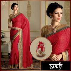 Accessorize this fancy saree with a layered necklace and be the