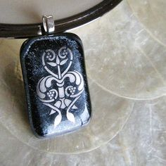 DARK ROMANCE Fused glass pendant by BeauxBangles on Etsy, $20.00
