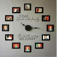 Wall clock made with pictures. Love this idea