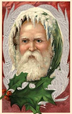 Santa head with holly underneath Santa Claus Vintage Christmas Images, Victorian Christmas, Vintage Holiday, Christmas Pictures, Merry Christmas, Father Christmas, Christmas Greetings, Christmas Postcards, Christmas Trees