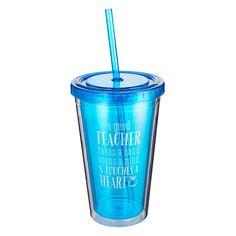 Blue Insulated Plastic Tumbler: A Good Teacher - 1 Corinthians 16:14 | Christian Art Gifts