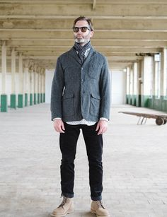 Engineered Garments Grey 13oz Wool Flannel Baker Jacket
