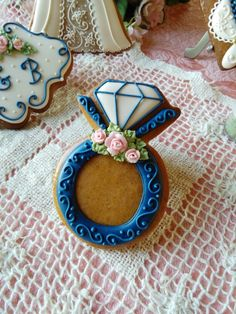 Wedding ring cookie, gingerbread cookie,diamond ring
