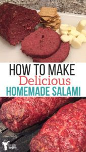 How to Make Delicious Homemade Salami - Uplifting Mayhem This homemade salami will become a family favorite! Make sandwiches or put it in your kids lunch with crackers and cheese. Salami that smells and tastes amazing! Homemade Salami Recipe, Salami Recipes, Homemade Sausage Recipes, Venison Recipes, Meat Recipes, Cooking Recipes, Smoker Recipes, Gastronomia, Kitchen