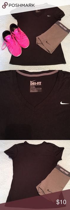 Nike Dri-Fit Tshirt Size small.  Light breathable material.  Color is black with a white Nike swoosh. Nike Tops Tees - Short Sleeve