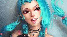 Jinx Beautiful Girl Tongue Out League of Legends High Resolution 1920x1440