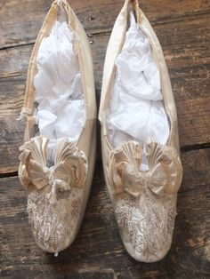 78a4f06caaa0 Antique Victorian beaded  amp  embroidered wedding bridal shoes c1880 s