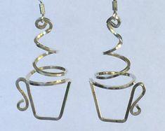 Coffee or tea cup earrings, sterling, copper