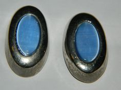 A Elegant Vintage Setor Pair of Silver & Blue Opal by ZiggyzAttic
