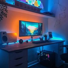 Home Office Designs - Home offices are now a norm to modern homes. Here are some brilliant home office design ideas to help you get started. Best Gaming Setup, Gaming Room Setup, Pc Setup, Video Game Decor, Video Game Rooms, Home Office Setup, Home Office Design, Office Designs, Computer Desk Setup