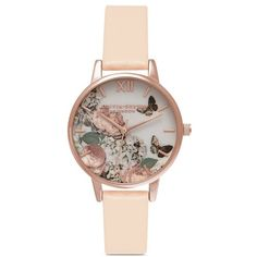 Olivia Burton 'Enchanted Garden' floral print 30mm watch ($120) ❤ liked on Polyvore featuring jewelry, watches, butterfly jewelry, dial watches, pink dial watches, pink jewelry and floral watches