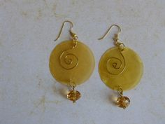 Yellow Moon Earrings with Topaz Beads by BazaarCharlotte on Etsy, $10.00