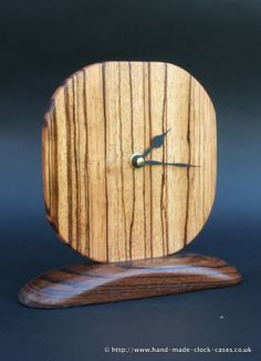 hand made wood clock | Zebrano Circular Mounted Clock