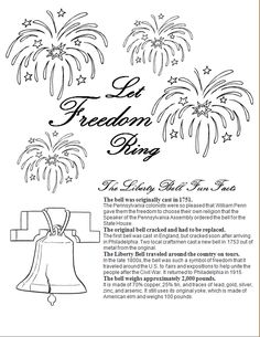 Free printable liberty bell worksheet. Liberty Bell facts