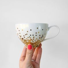 Mod Podge a chic gold confetti mug with this tutorial.