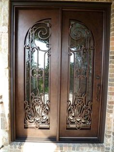 Wrought Iron Double Doors | A&A Leaded Glass And Doors