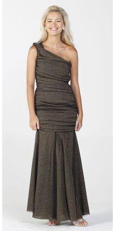 ffa50595abb CLEARANCE - Modest Long Gold Mermaid Dress Knit Mesh One Shoulder Folded  Plea (Size Small)