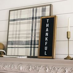 Plaid wood sign for fall. Thankful wood sign. Wooden farmhouse wall decor. Fall layering sign for mantle.