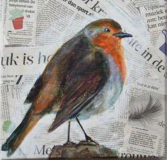 Roodborstje vogel acryl op Nederlandse krant collage op