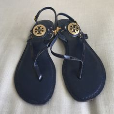 AUTHENTIC Navy Blue Tory Burch Sandals Classic navy blue patent leather sandals with gold Tory Butch logo. Perfect for summer! Only worn a few times, barely any signs of wear! Tory Burch Shoes Sandals