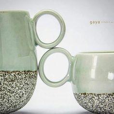 Together. . Hand thrown porcelain mugs, lava sand engobe and celadon glaze, 1300°C reduction Available in our showroom. . .. . . . . #gayaceramic #gayacac #eatclaylove #ceramics #ceramic #porcelain #celadon #handmade #pottery #homedecor #homeware #decor #interiordesign #tableware #tabletop #coffee #mug #restaurant #chef #hotel #home #welovewhatwedo #bali #ubud #instacool #volcano #love #forever #clay