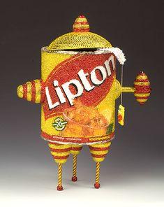Beaded Lipton Teapot with Teabag, Linda Dolack  Glass beads, Swarovski rhinestones, mixed media