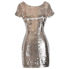 Scale Up Gold Sequin Party Dress ($60) ❤ liked on Polyvore featuring dresses, gold sequin dress, gold dress, brown sequin dress, yellow gold dress and sequin dresses
