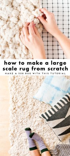 How to Make a Large-Scale DIY Rug from Scratch Learn how to make a large-scale . How to Make a Large-Scale DIY Rug from Scratch Learn how to make a large-scale DIY rug from scratc Tapetes Diy, Rag Rug Diy, Rag Rugs, Homemade Rugs, Patchwork Rugs, Braided Rugs, Diy Carpet, Shag Carpet, White Carpet