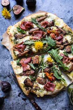 Dandelion Green Pesto, Fresh Fig and Gorgonzola Pizza with Prosciutto