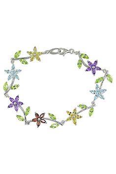 6.25ct Multi-Gemstone & Sterling Silver Bracelet