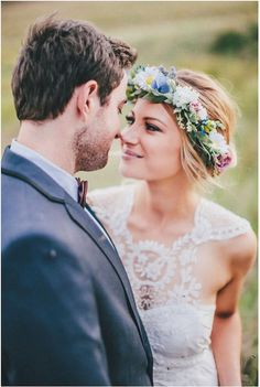 Bohemian Bride with Flower Crown