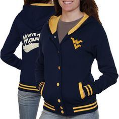 West Virginia Mountaineers Ladies Varsity Blues Full Button Hoodie - Navy Blue