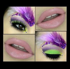 Neon green and purple eye make-up complete with a brow of feathers and crystals accented by pretty pink lips. Body Makeup, Eyebrow Makeup, Beauty Makeup, Green And Purple, Neon Green, Face Rhinestones, Fantasy Make Up, Black Lights, Glow Sticks