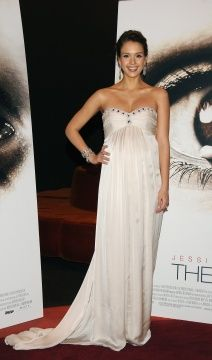 "Jessica Alba wearing the Strapless Zora Dress from the Temperley London Autumn/Winter 2008/2009 collection, at ""The Eye"" premiere in Paris."