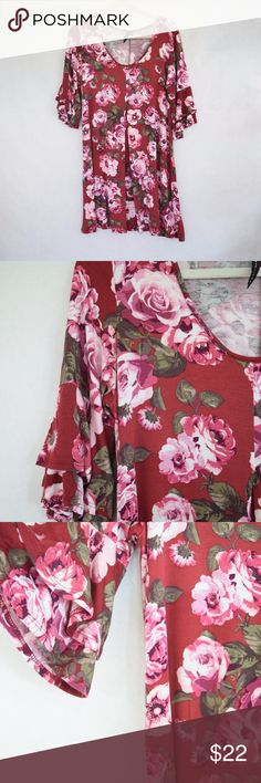 Obsession Floral Tunic Dress (Sz 1X) Obsession Floral Tunic Dress (Sz 1X); Vintage-look floral design in shades of pink and muted burgundy; Ruffle bell sleeves & soft flutter bottom hem; Some softening & wear from use. Obsession Dresses