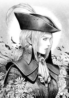 Bloodborne Maria, Dark Fantasy, Fantasy Art, Black And White Art Drawing, Kentaro Miura, Digital Ink, Arte Horror, Horror Art, Goth Art