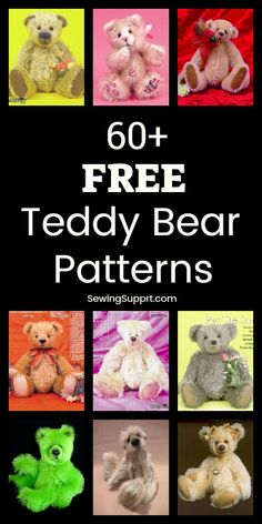Free Teddy Bear Patterns - - Lots of free stuffed teddy bear patterns to sew. Many jointed designs with templates. How to make a teddy bear, diy projects & tutorials, teddy bear sewing pattern. Teddy Bear Template, Teddy Bear Patterns Free, Teddy Bear Sewing Pattern, Animal Sewing Patterns, Stuffed Animal Patterns, Sewing Patterns Free, Stuffed Animals, Knitted Teddy Bear, Crochet Bear