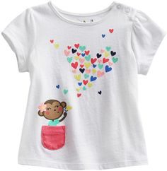Babydoll Jumping beans ® monkey  hearts tee - baby on shopstyle.com