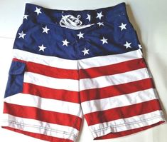 c21768ee24 AMERICAN FLAG Men's Board Shorts Swim Suit Trunks Size XL or size 36  (inseam 9