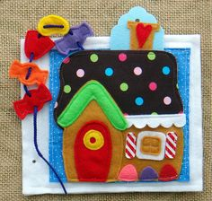 love this gingerbread cottage with candy beads to string. LindyJ Design