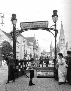 U-Bahnhof Zoo, Wilhelmshallen hallen (l), Kaiser-Wilhelm Gedächtniskirche (r), Berlin um 1910. O. P.