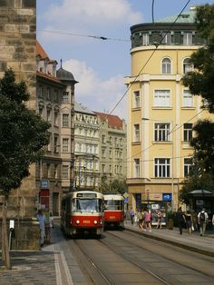 Trams in Prague, Czech Republic Beautiful Places In The World, Most Beautiful, Bonde, Light Rail, Prague Czech, Czech Republic, Design Art, Places To Go, Trains