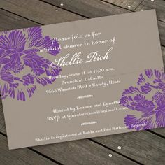 purple and gray party invitation floral party by CeceliaJane, $20.00